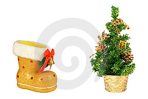 Golden Christmas Tree And Boots Stock Image - Image: 17155901