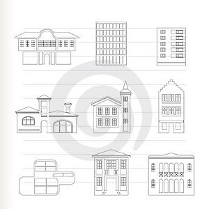 Different Kind Of Houses And Buildings Royalty Free Stock Images - Image: 17156529