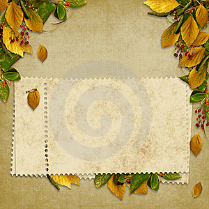 Card For The Holiday  With Autumn Leaves Stock Photography - Image: 17158792