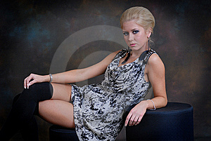 Beautiful Young Woman In Dress And Stockings Royalty Free Stock Photo - Image: 17159445