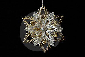 Silver-golden Snowflake On Black Stock Images - Image: 17159574