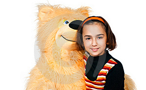 Girl With Bear Royalty Free Stock Image - Image: 17160106