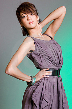 Girl On Green Background Stock Image - Image: 17160351