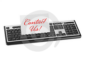 Computer Keyboard And Card Contact Us Royalty Free Stock Photography - Image: 17161127