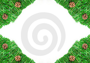 Christmas Pine Needles And Cones Green Frame Stock Images - Image: 17163724