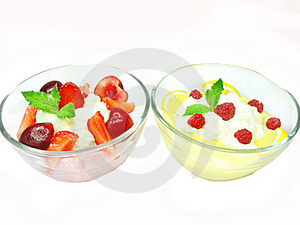 Two Cherry Desserts With Pudding And Jelly Stock Photography - Image: 17166062