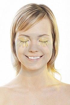 Woman Wearing Petal Eyelashes Stock Image - Image: 17167721