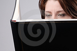 Add Text Woman With Big Black Book Stock Photos - Image: 17170043