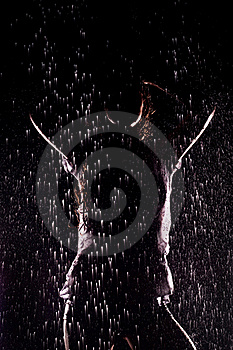 Girl, Stands Under The Water Jets Stock Photography - Image: 17170462