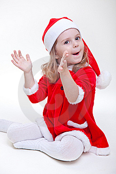 Joyful Santa Girl On White Royalty Free Stock Photography - Image: 17175767