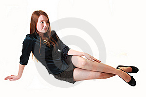Girl Sitting On Floor. Royalty Free Stock Photo - Image: 17176175