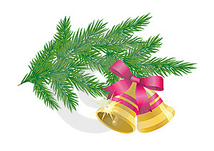 Pine Branch With Bells. Stock Photo - Image: 17178490