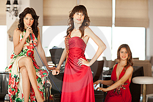 Three Beautiful Young Women At A Piano Royalty Free Stock Images - Image: 17180199