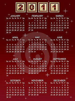 Calender For 2011 Royalty Free Stock Photos - Image: 17180598