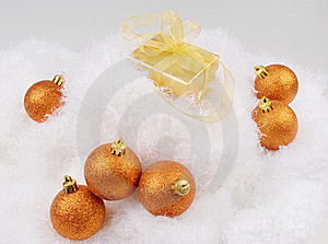 Christmas Brightly Golden Spheres Stock Photos - Image: 17187863