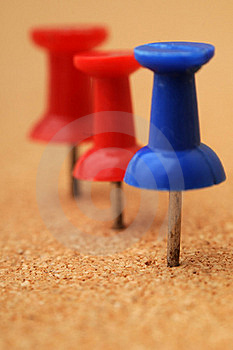 Macro Closeup Of Pushpins On Royalty Free Stock Photography - Image: 17190187