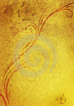 Yellow Paper With Floral Frame Royalty Free Stock Photo - Image: 17193195