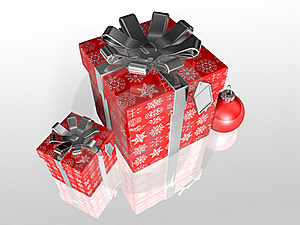 Gift Wrapping Red Paper With Ribbon Royalty Free Stock Photography - Image: 17194077