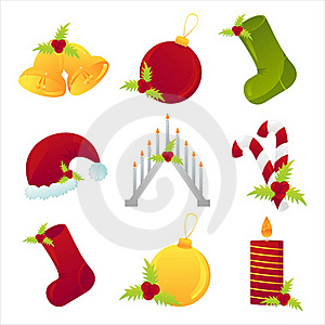 Set Of 9 Christmas Icons Stock Photography - Image: 17195462