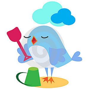 Bird Playing With Spade On The Sand Royalty Free Stock Photos - Image: 17197898
