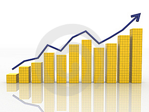 The Graph Of Growth Of The Blue Arrows Royalty Free Stock Images - Image: 17198329