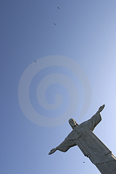 Christ Redeemer and Birds Royalty Free Stock Photography