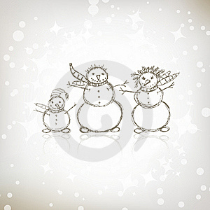Family Of Snowmen, Christmas Sketch Stock Photography - Image: 17201912