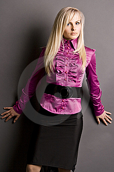 Beautiful Blonde In A Pink Blouse Royalty Free Stock Photos - Image: 17202068