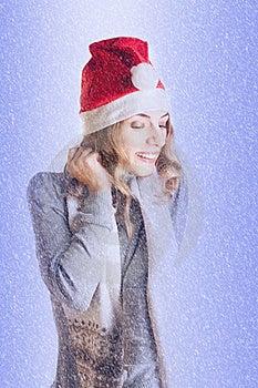 Woman In Santa Hat Stock Image - Image: 17204341