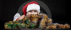 Christmas Girl Over Tinsel Stock Photos - Image: 17204353