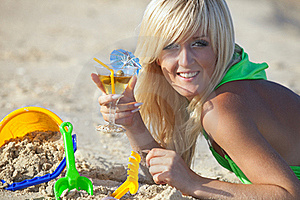Girl At The Sunny Beach Stock Photo - Image: 17207420