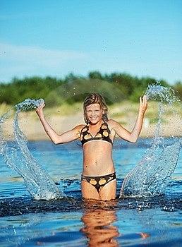 Happy Girl Making Water Splashes Royalty Free Stock Photography - Image: 17208647