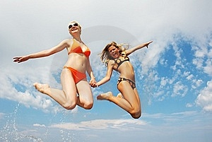 Happy Friends Jumping Royalty Free Stock Image - Image: 17208686