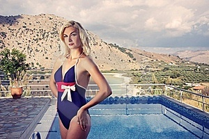 Blond Woman Near The Swimming Pool Stock Images - Image: 17209294