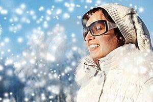 Beautiful  Woman Enjoying Winter Day Royalty Free Stock Images - Image: 17209559