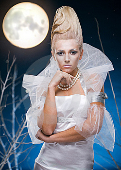 Beauty Woman  Under Moon Royalty Free Stock Photo - Image: 17211385