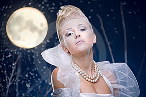 Beauty Woman  Under Moon Stock Image - Image: 17211401