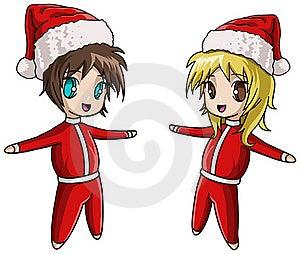 Cute Anime Santa Girl And Boy Royalty Free Stock Image - Image: 17212696