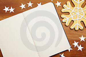 Blank Notebook With Snowflake Royalty Free Stock Photography - Image: 17216657