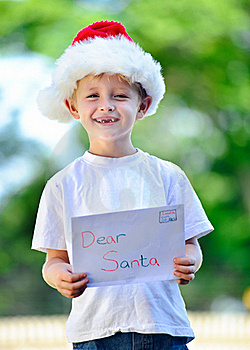 Child With Santa Hat Stock Image - Image: 17218491