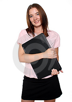 Librarian holding a laptop Stock Photo