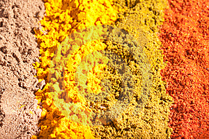 Four Raws Of Flavorful Bright Spices Royalty Free Stock Image - Image: 17221706