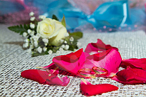 Two Rings On The Petals Of Roses Stock Images - Image: 17222024