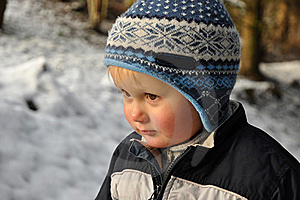 Boy Standing In Snowy Forest Royalty Free Stock Images - Image: 17222339