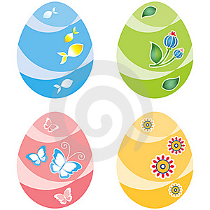 Easter Eggs, Four Variants Of Color Royalty Free Stock Photo - Image: 17222505