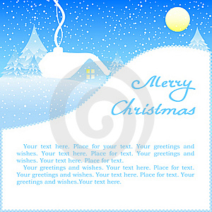 Christmas Card With House In Snow. Royalty Free Stock Images - Image: 17223319