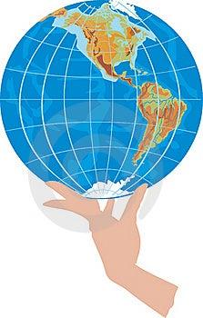 Globe In Hand On White Stock Photo - Image: 17228890