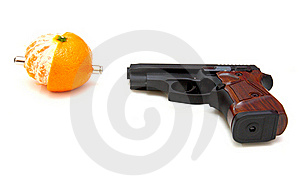 The Close Up Of A Pistol A Tangerine Royalty Free Stock Photography - Image: 17231407