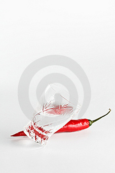 Red Hot Chili Pepper With Crystal Glass Stock Photo - Image: 17235340