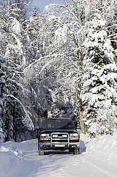Suv, Car, Driving In Snowy Country Stock Photos - Image: 17235953